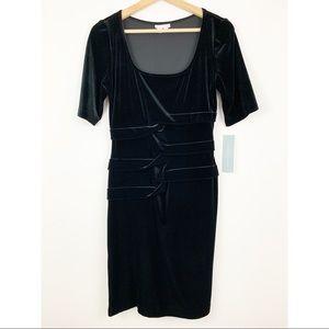 NWT London Times Black Velvet Dress Sz 6 LBD Elbow
